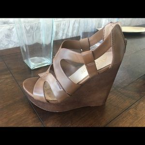 Aldo brown leather wedge sandals